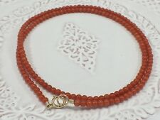 """Undyed Mediterranean Red Coral 14kt Bead Necklace for Antique Pendants, 16.5"""""""