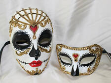 His and Hers Couples Day Of The Dead Halloween Masquerade Black White Masks