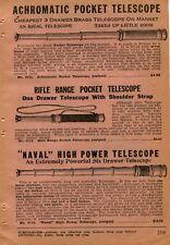 1927 small Print Ad Achromatic & Rifle Range Pocket & Naval High Power Telescope
