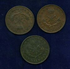 CANADA  UPPER CANADA  1852 & 1857 HALF-PENNY COINS, GROUP LOT OF (3)