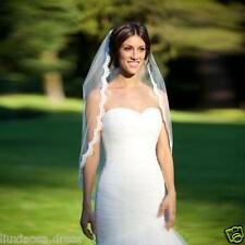 1 Layer Shallow ivory Elbow Length Lace edge Bride Wedding Bridal Veil + Comb ++