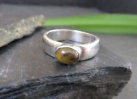 Bemerkenswerter 925 Silber Ring Sterling Tigerauge Cabochon Oval Modern Elegant