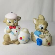 Vintage Bunny Rabbit Figurines Artist Painters Easter Decor Spring Lot Of 2