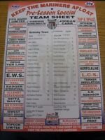 22/07/2005 Colour Teamsheet: Grimsby Town v Rotherham United [Friendly] (folded,