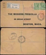 GB KG5 1914 REGIST.EASTBOURNE to BOSTON USA TERMINUS RD MODERN PRISCILLA FASHION