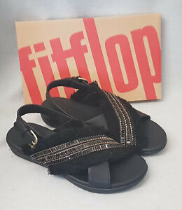 New Fitflop Lexi Crystalstone Fringy Back Strap Black Ladies Sandals Box Size 5