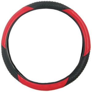 """BDK Two-Tone Red Black Steering Wheel Cover for Auto Car Truck SUV 15"""" Universal"""