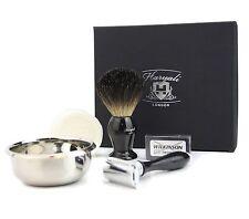 DOUBLE EDGE Safety Razor Rasatura Set + CAPELLI Badger Pennello da barba per uomo set regalo