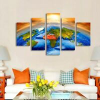 Great Earth Painting World Map Poster Wall Art Science Home Decor 5pCanvas Print