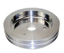 Polished Aluminum SB Chevy V8 Double Groove Crankshaft Pulley - SWP Lower