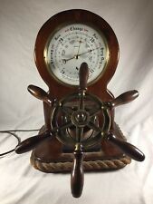 Vintage Antique Barometer Millibars England Nautical Wood Rope For Staging