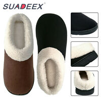 Mens Winter Warm Plush Lined Slippers Indoor Outdoor Slip On Cozy House Shoes