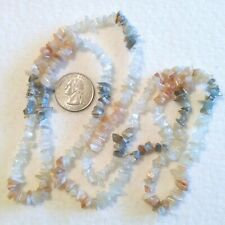 Vintage Salmon Pink Grey Agate Clear Quartz Crystal Stone Chip Long Necklace