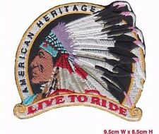 Live To Ride American Indian Biker Motor Bike Iron on Embroidered Patch Badge UK