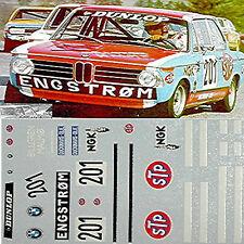BMW 2002 Tii STP Danish CAMPIONE 1970 #201 Engstrom 1:43 DECALCOMANIA