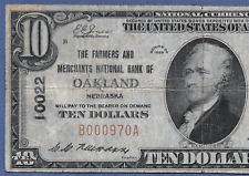 NE 1929  $10 ♚♚ OAKLAND, NEBRASKA ♚♚  THE FARMERS AND MERCHANTS NB