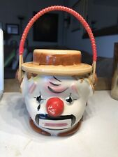 Rare Vintage Ceramic Clown Basket With Hat Made In Japan Great Condition