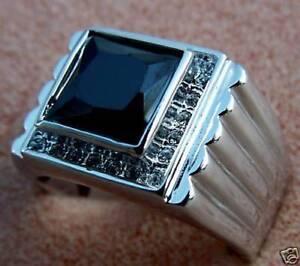 Black Onyx Mens 9.1 Carat Genuine Stone Ring White Gold Overlay size 13