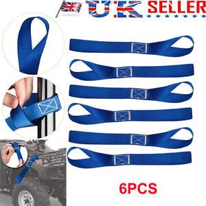 6pcs Blue Soft Loop Ratchet Strap Tie Down Straps for Motorcycle Motorbike UK