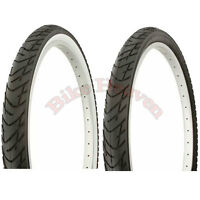 "1 PAIR DURO Bicycle Tire 26"" x 2.125 ALL BLACK or Black/White Beach Cruiser Tire"