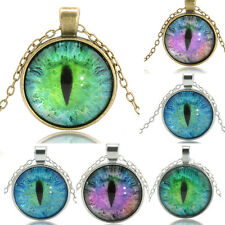 Gift Mystery Colored Dragon Cat Eye Cabochon Glass Plated Pendant Chain Necklace