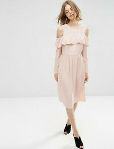 Asos Ladies 18 Midi Dress Ruffle Front Cold Shoulder Dusty Pink Boho IMMACULATE