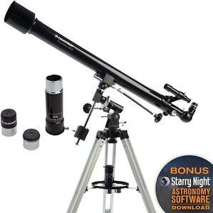 Celestron PowerSeeker 60EQ Refractor Telescope + 3 Eyepieces, Starry Night ✅✅✅✅✅