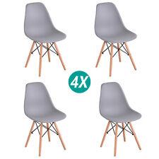 Pack de 4 sillas cocina oficine comedor salon retro estilo madera gris diseño