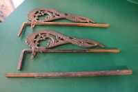 ANTIQUE ORNATE CAST IRON ADJUSTABLE CURTAIN RODS with EXPANSION ROD