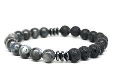 Jasper Stone and Lava Stone Beaded Mens Bracelet Handmade