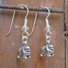 Pomeranian Dangle Sterling Silver Earrings (JEDP118) - Free Shipping
