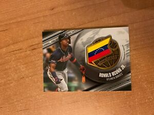 2020 Topps Series 1 - Ronald Acuna Jr- Black Global Game Medallion Relic #d /149
