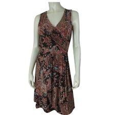 Ralph Lauren Petite Dress PS Brown Paisley Poly Elastane Stretch Knit Blend New