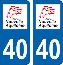 2 autocollants style immatriculation auto Département 40 NOUVELLE AQUITAINE