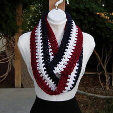 Red White and Blue INFINITY SCARF LOOP COWL Soft Handmade Crochet Knit Patriotic