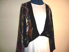 Terciopelo Devore chaqueta corta de black/gold/red / tan/grey Abstracto Diseño Freesize Nuevo