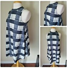 Want & Need Gray Plaid London Punk Knit Stretch Sleeveless Trapeze Dress XS