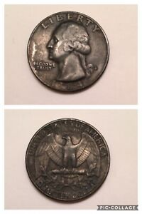 1984 D Washington US Quarter Dollar, Black AU Onyx Rare Dark Toned Coin