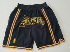 Los Angeles Lakers Black Shorts Stitched