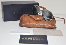 Ralph Lauren Silver Brown Leather Aviator Sunglasses RL 7045KQ 9263/40 58mm BNIB