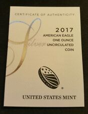 2017 United States Mint Certificate Of Authenticity