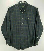Orvis Mens M Shirt Gray Plaid Long Sleeve Button Up Cotton Button Down Collar EC