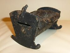 ANTIQUE NICKELED CAST IRON BABY IN CRADLE STILL BANK