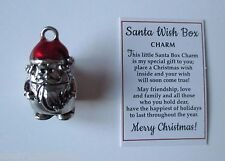 p SANTA WISH BOX prayer Charm pendant pocket figurine opens hold message Ganz