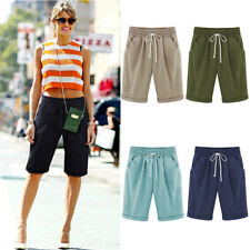 Women Casual Loose Shorts Trousers Cropped Pants Pocket Beach Summer Plus Size