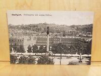 E12) Postcard STUTTGART Schlossplatz mit neuem Schloss city view fountain statue