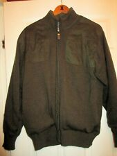 ORVIS Plaid Lined Olive Full Zip Foul Weather Shooting Jacket Wool Sweater - M