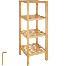 Étagère debout 4 niveaux salle de bain cuisine bois de bambou stockage rangement