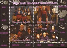 2015 Star Trek TNG Picard, Riker, Data, Worf - 4 Stamp Sheet - 3B-378