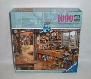 RAVENSBURGER 1000 Piece DAD'S SHED Jigsaw PUZZLE Tools Fishing Garden